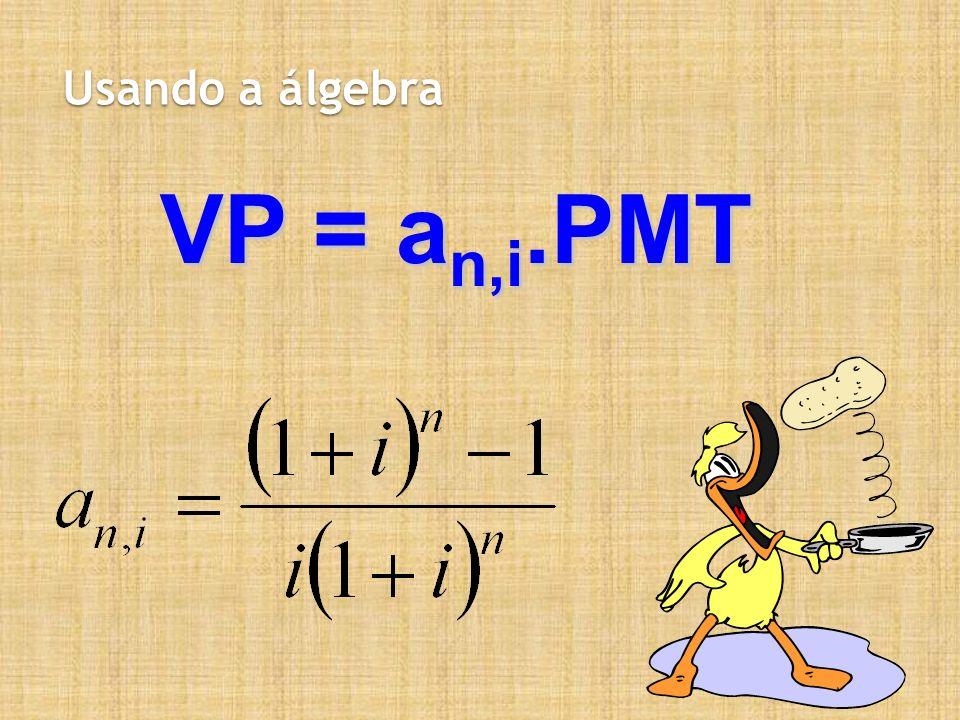 Usando a álgebra VP = a n,i.PMT