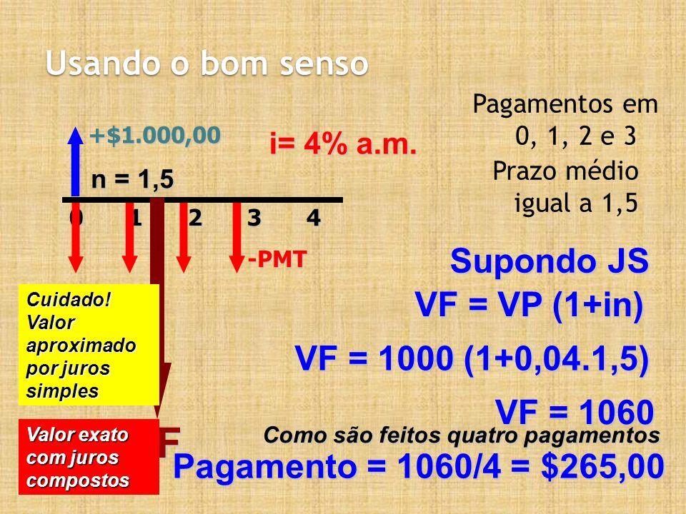 Usando o bom senso Pagamentos em 0, 1, 2 e 3 Prazo médio igual a 1,5 +$1.000,0020143-PMT i= 4% a.m. n = 1,5 Supondo JS VF VF = VP (1+in) VF = 1000 (1+