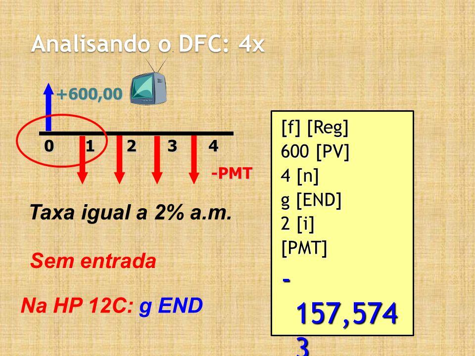 Analisando o DFC: 4x +600,0020143-PMT Taxa igual a 2% a.m. Sem entrada Na HP 12C: g END [f] [Reg] 600 [PV] 4 [n] g [END] 2 [i] [PMT] - 157,574 3