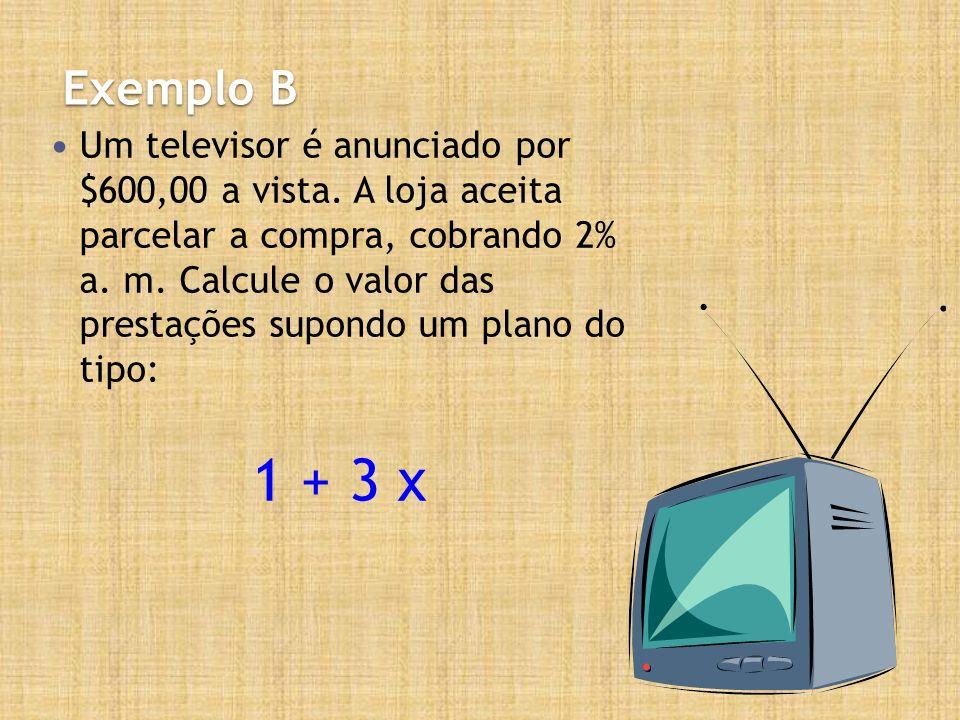 Exemplo B Um televisor é anunciado por $600,00 a vista. A loja aceita parcelar a compra, cobrando 2% a. m. Calcule o valor das prestações supondo um p