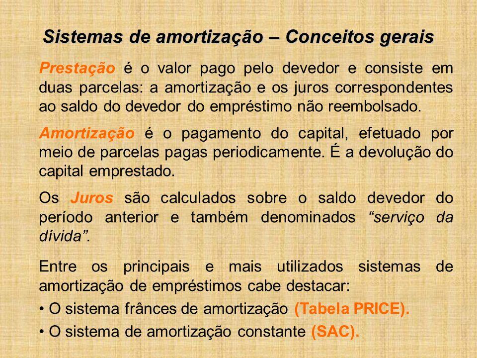 Sistemas de amortização – Conceitos gerais Prestação é o valor pago pelo devedor e consiste em duas parcelas: a amortização e os juros correspondentes