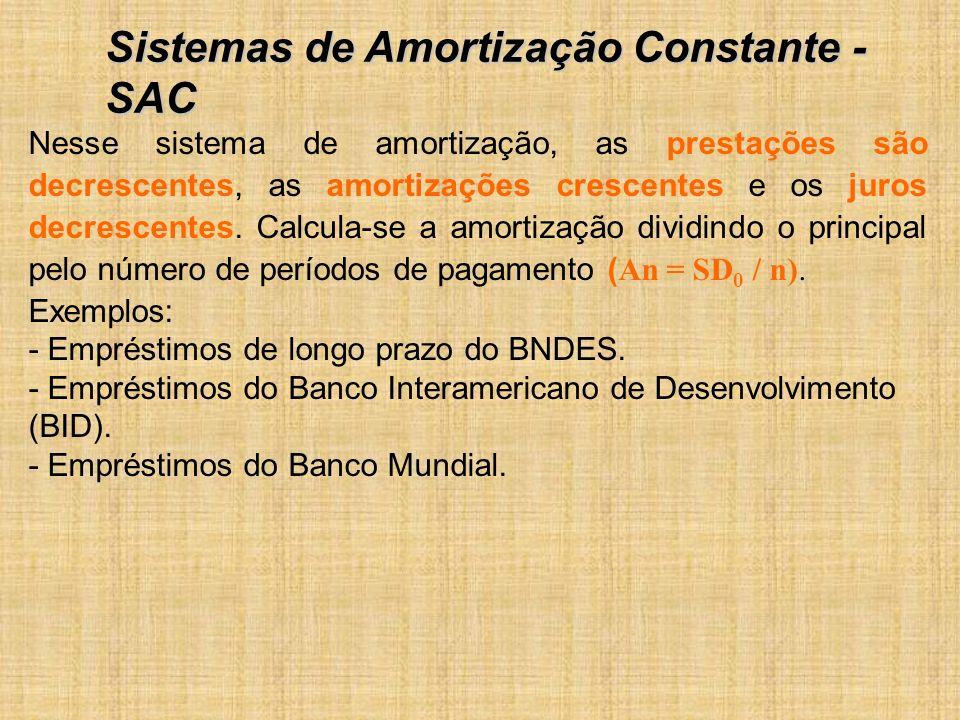 Nesse sistema de amortização, as prestações são decrescentes, as amortizações crescentes e os juros decrescentes.