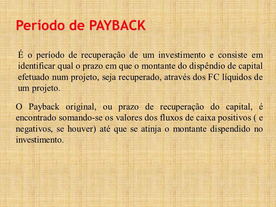 Período de PAYBACK É o período de recuperação de um investimento e consiste em identificar qual o prazo em que o montante do dispêndio de capital efetuado num projeto, seja recuperado, através dos FC líquidos de um projeto.