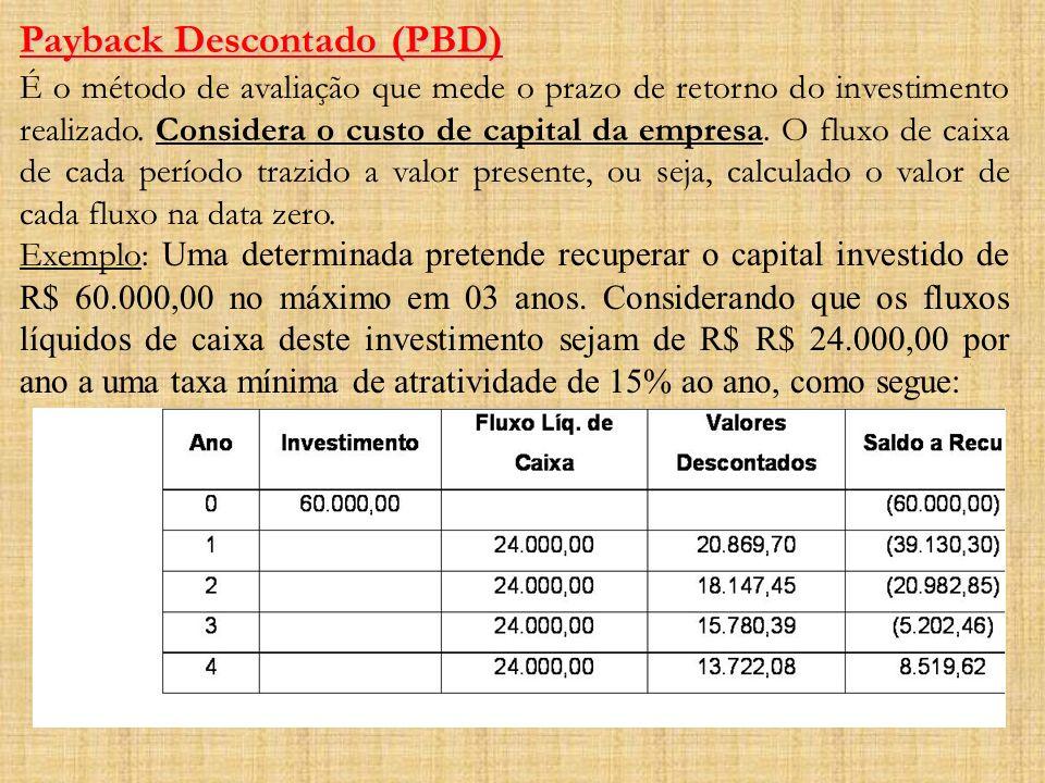 Payback Descontado (PBD) É o método de avaliação que mede o prazo de retorno do investimento realizado. Considera o custo de capital da empresa. O flu
