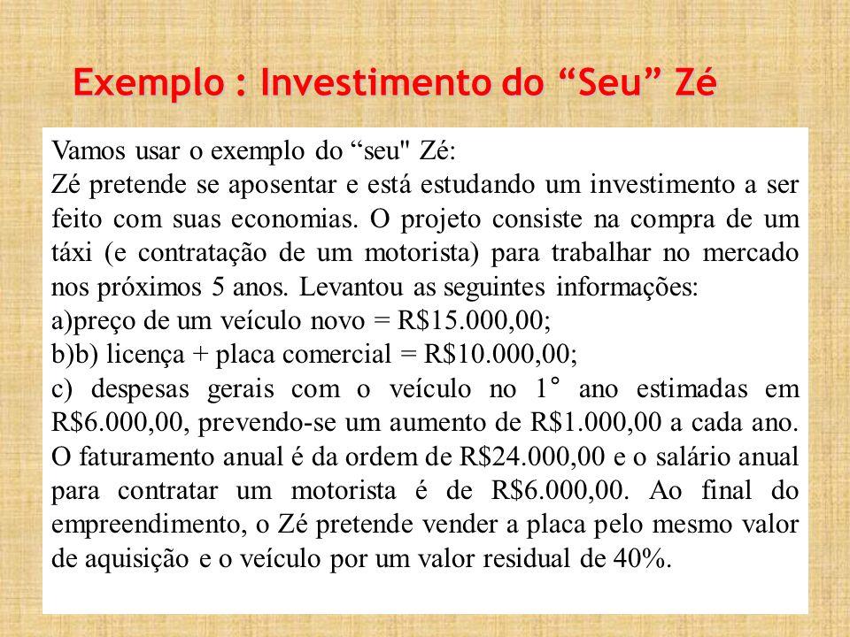 Exemplo : Investimento do Seu Zé Vamos usar o exemplo do seu Zé: Zé pretende se aposentar e está estudando um investimento a ser feito com suas economias.