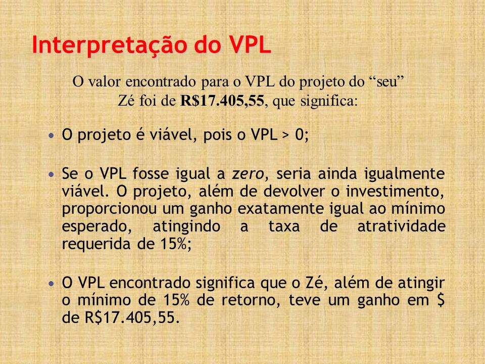 Interpretação do VPL O projeto é viável, pois o VPL > 0; Se o VPL fosse igual a zero, seria ainda igualmente viável. O projeto, além de devolver o inv