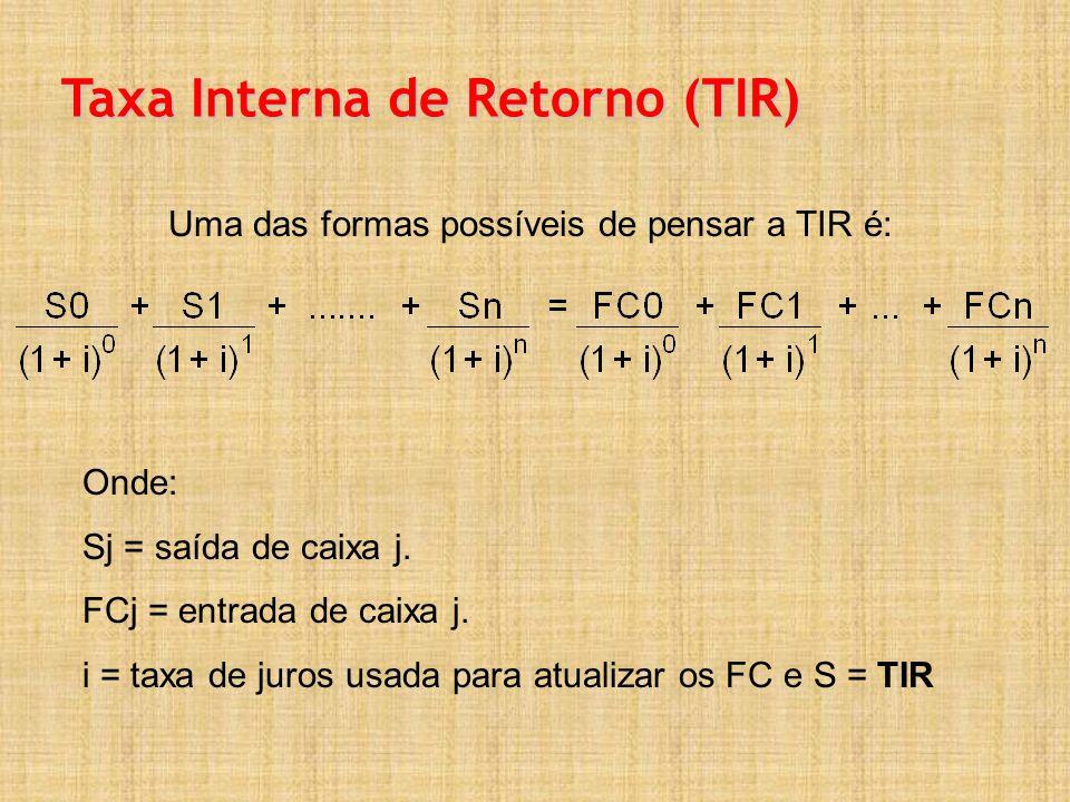 Taxa Interna de Retorno (TIR) Uma das formas possíveis de pensar a TIR é: Onde: Sj = saída de caixa j. FCj = entrada de caixa j. i = taxa de juros usa