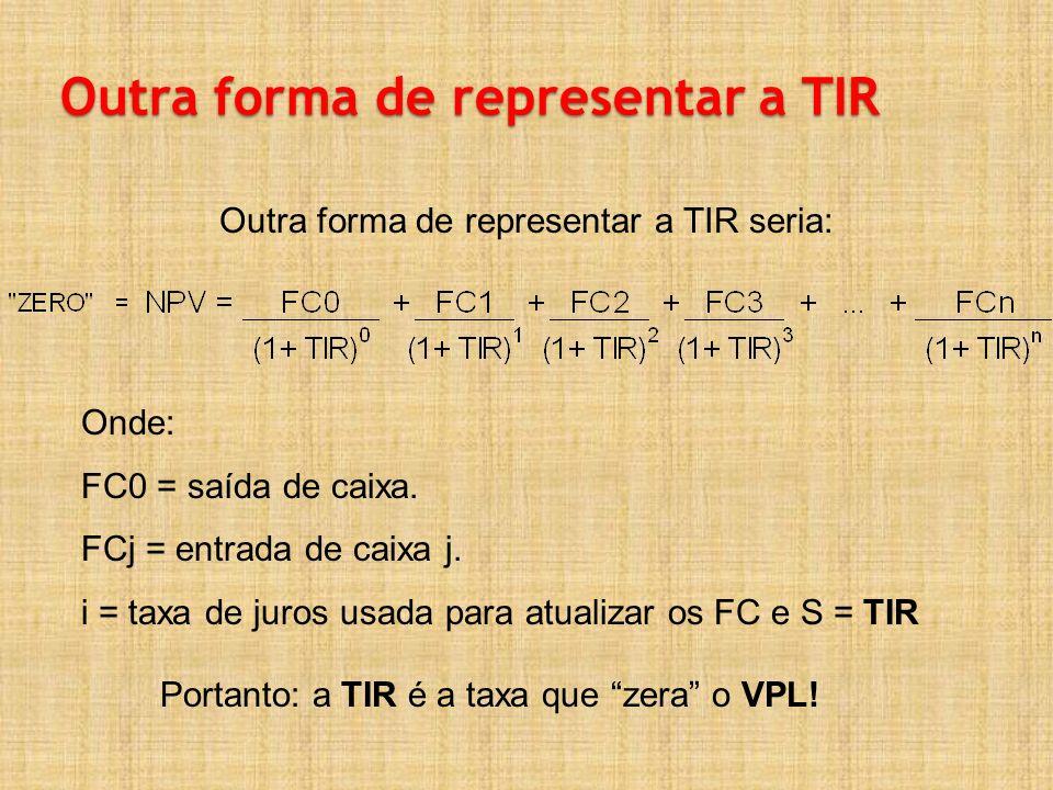 Outra forma de representar a TIR Outra forma de representar a TIR seria: Onde: FC0 = saída de caixa. FCj = entrada de caixa j. i = taxa de juros usada