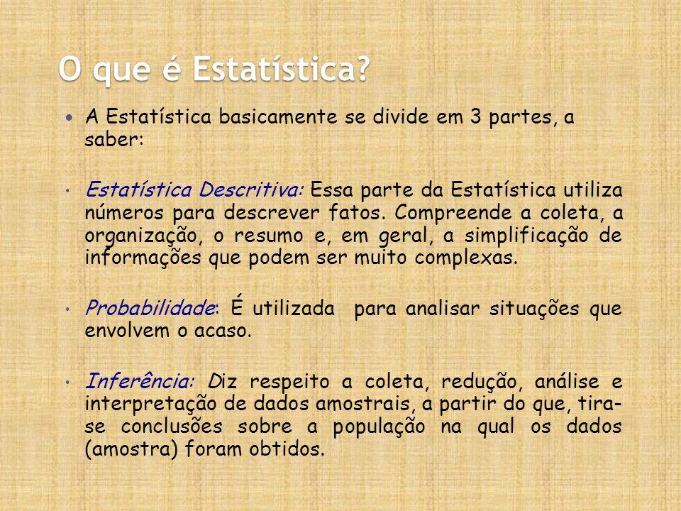 O que é Estatística? A Estatística basicamente se divide em 3 partes, a saber: Estatística Descritiva: Essa parte da Estatística utiliza números para