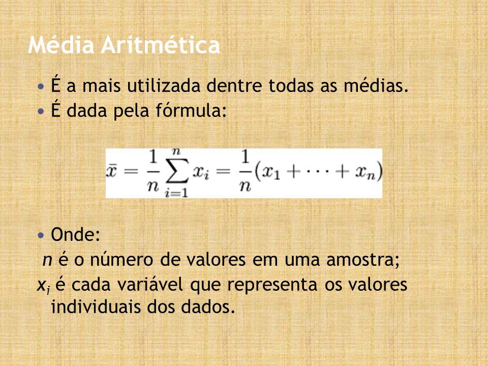 Média Aritmética É a mais utilizada dentre todas as médias. É dada pela fórmula: Onde: n é o número de valores em uma amostra; x i é cada variável que