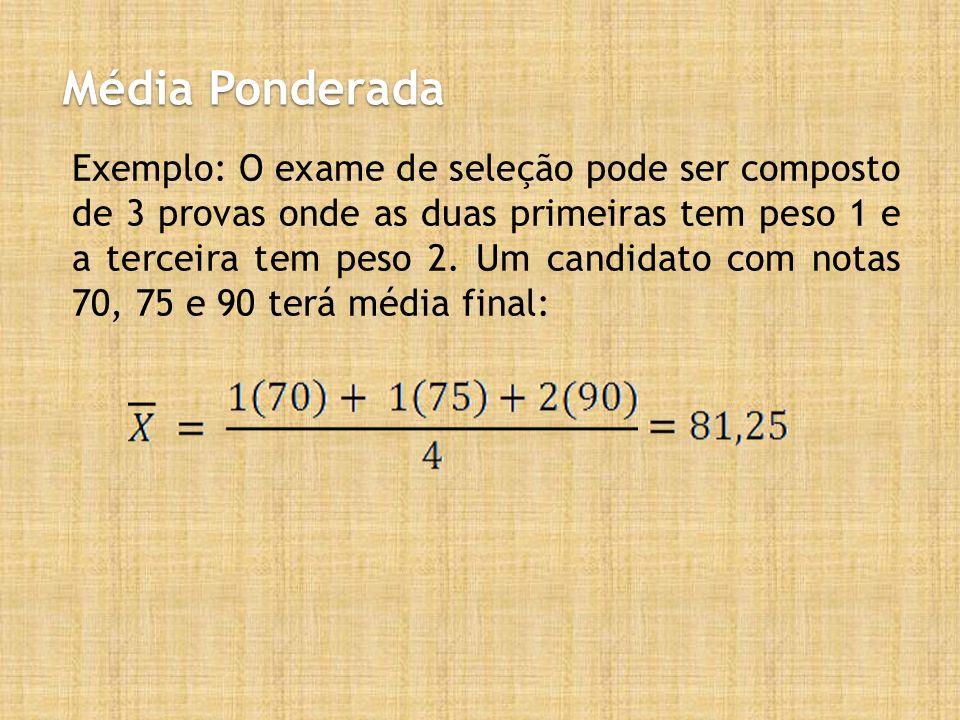 Média Ponderada Exemplo: O exame de seleção pode ser composto de 3 provas onde as duas primeiras tem peso 1 e a terceira tem peso 2. Um candidato com