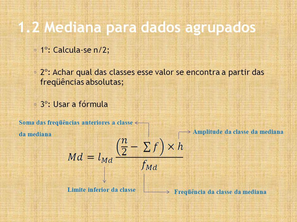 1.2 Mediana para dados agrupados 1º: Calcula-se n/2; 2º: Achar qual das classes esse valor se encontra a partir das freqüências absolutas; 3º: Usar a fórmula Limite inferior da classe Amplitude da classe da mediana Freqüência da classe da mediana Soma das freqüências anteriores a classe da mediana