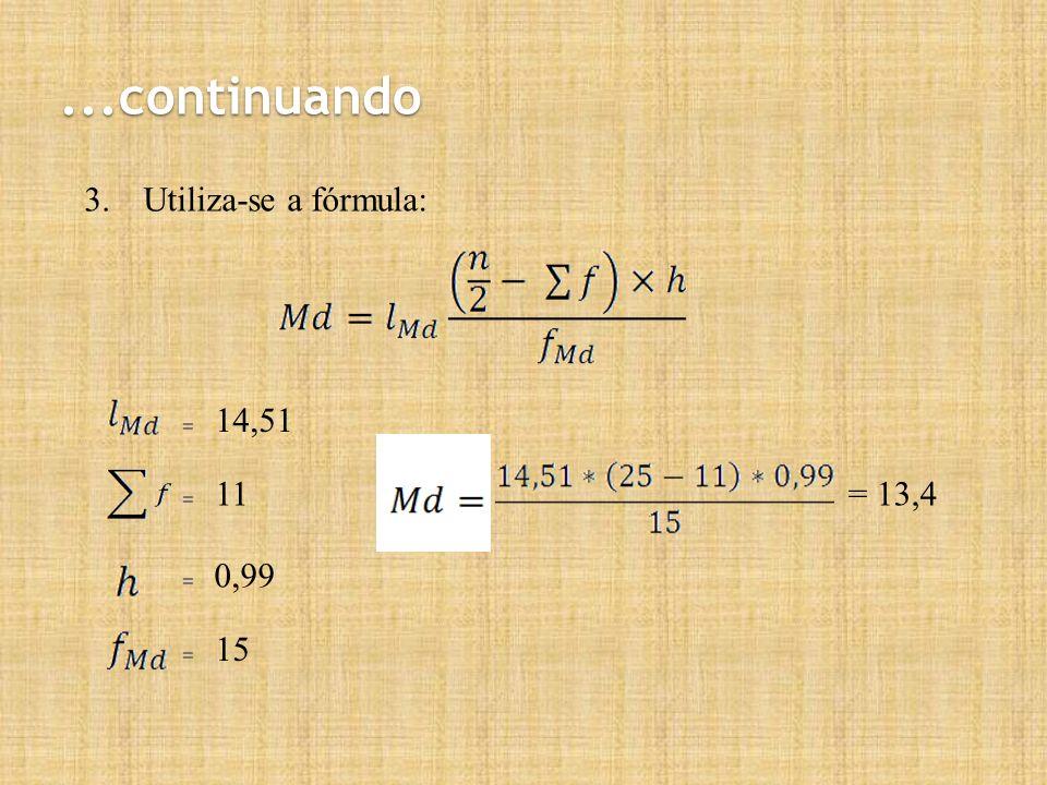 ...continuando 3.Utiliza-se a fórmula: = = = = 14,51 11 0,99 15 = 13,4