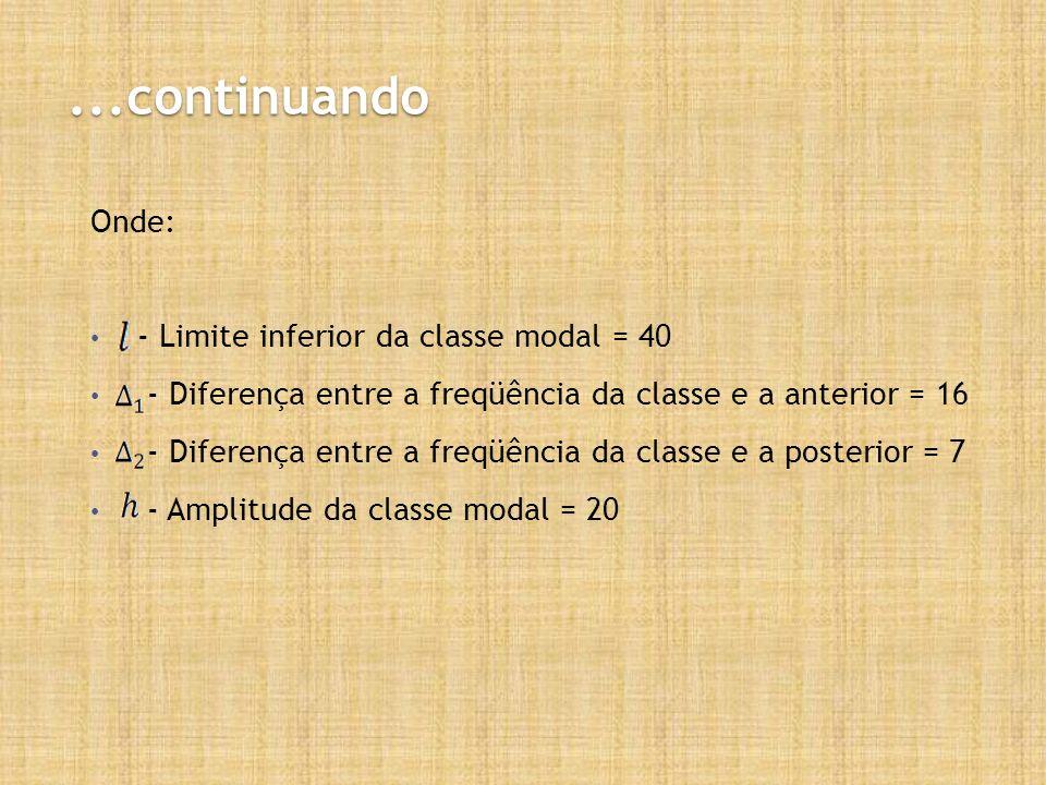 ...continuando Onde: - Limite inferior da classe modal = 40 - Diferença entre a freqüência da classe e a anterior = 16 - Diferença entre a freqüência da classe e a posterior = 7 - Amplitude da classe modal = 20
