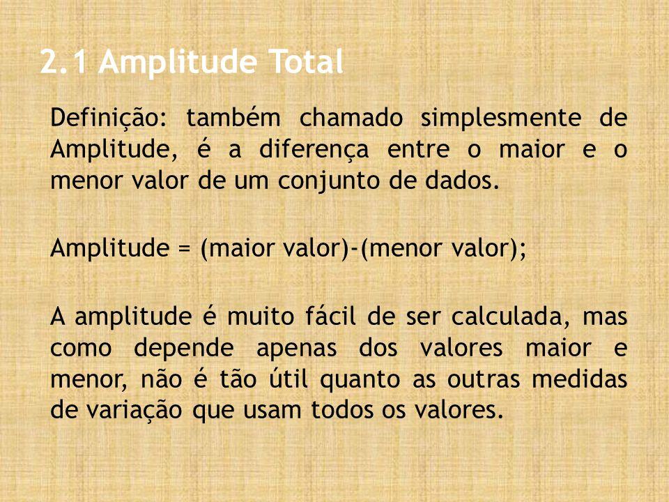 2.1 Amplitude Total Definição: também chamado simplesmente de Amplitude, é a diferença entre o maior e o menor valor de um conjunto de dados. Amplitud