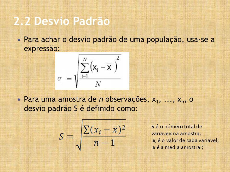2.2 Desvio Padrão Para achar o desvio padrão de uma população, usa-se a expressão: Para uma amostra de n observações, x 1,..., x n, o desvio padrão S é definido como: n é o número total de variáveis na amostra; x i é o valor de cada variável; x é a média amostral;