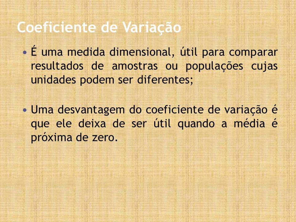 Coeficiente de Variação É uma medida dimensional, útil para comparar resultados de amostras ou populações cujas unidades podem ser diferentes; Uma desvantagem do coeficiente de variação é que ele deixa de ser útil quando a média é próxima de zero.