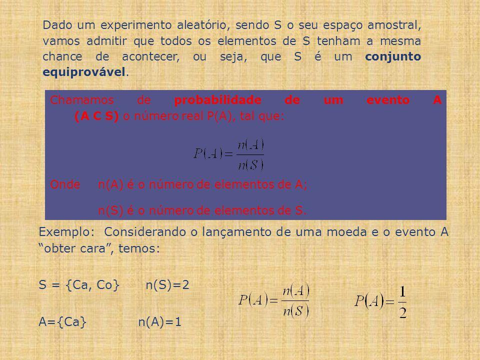 Chamamos de probabilidade de um evento A (A C S) o número real P(A), tal que: Onde n(A) é o número de elementos de A; n(S) é o número de elementos de S.