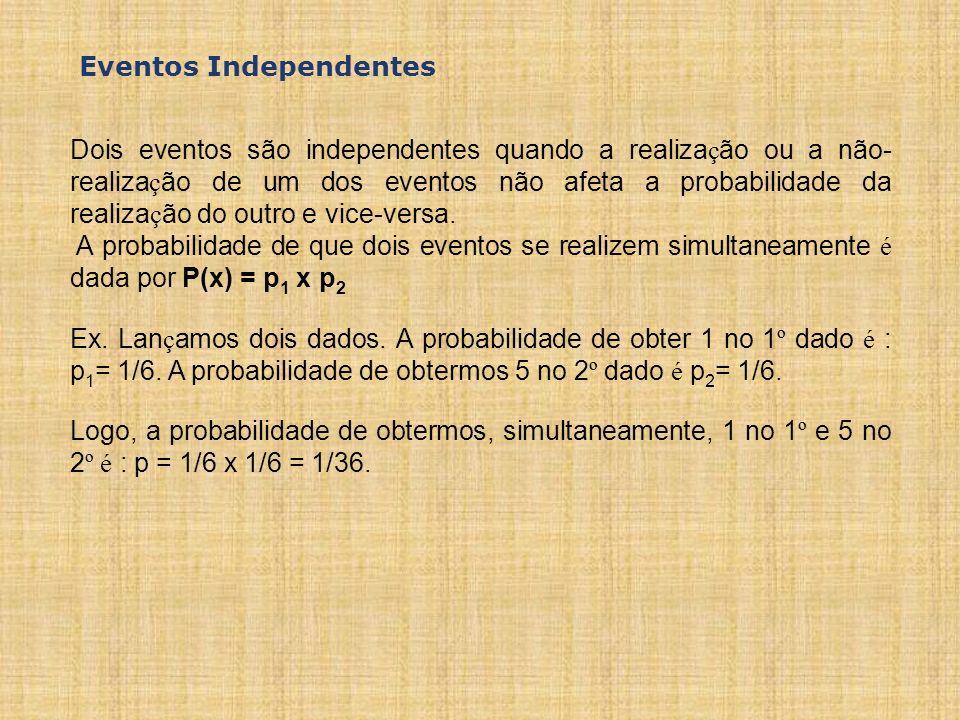 Dois eventos são independentes quando a realiza ç ão ou a não- realiza ç ão de um dos eventos não afeta a probabilidade da realiza ç ão do outro e vice-versa.
