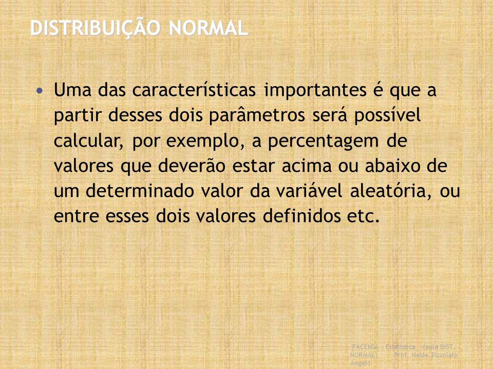 FACENSA – Estatística –(aula DIST. NORMAL) Prof. Neide Pizzolato Angelo DISTRIBUIÇÃO NORMAL Uma das características importantes é que a partir desses