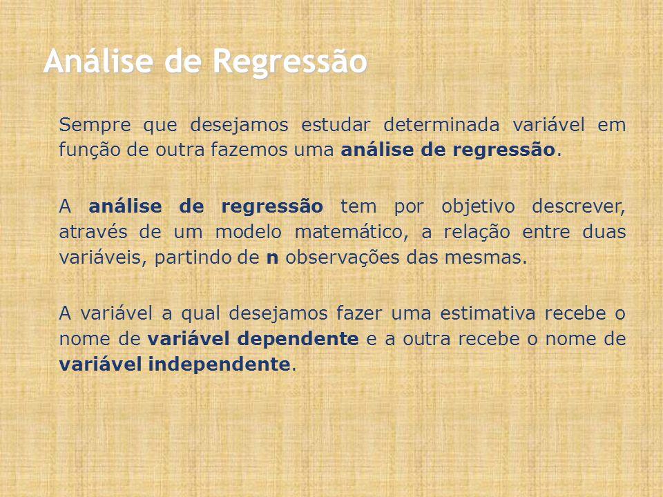 Sempre que desejamos estudar determinada variável em função de outra fazemos uma análise de regressão.