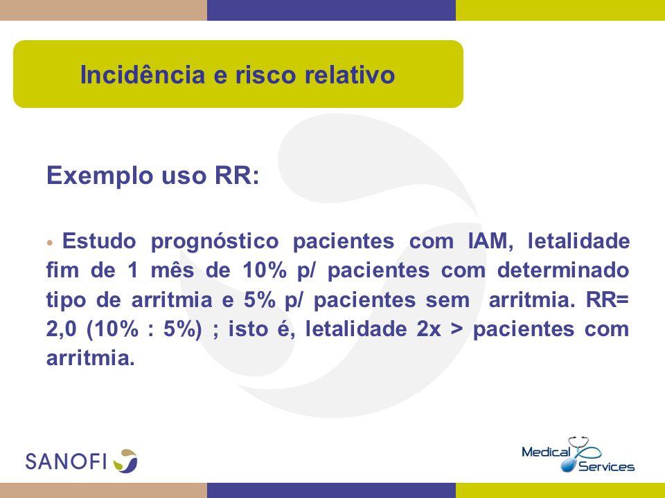 Exemplo uso RR: Estudo prognóstico pacientes com IAM, letalidade fim de 1 mês de 10% p/ pacientes com determinado tipo de arritmia e 5% p/ pacientes s
