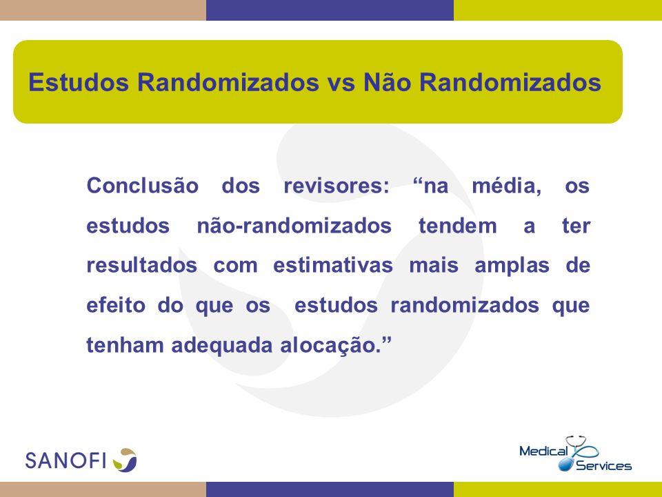 Conclusão dos revisores: na média, os estudos não-randomizados tendem a ter resultados com estimativas mais amplas de efeito do que os estudos randomi