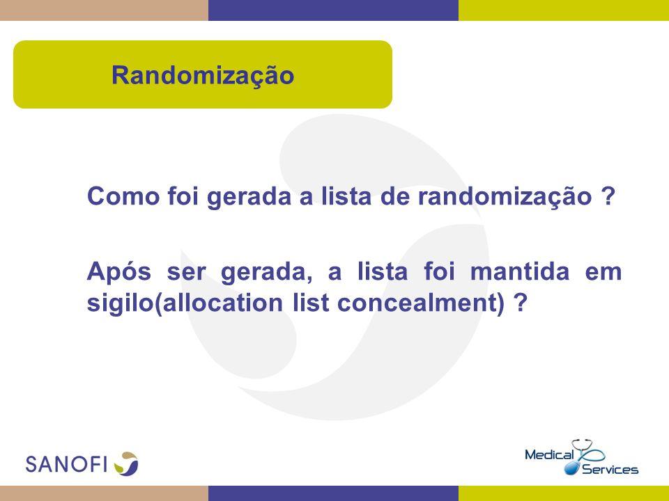 Como foi gerada a lista de randomização ? Após ser gerada, a lista foi mantida em sigilo(allocation list concealment) ? Randomização