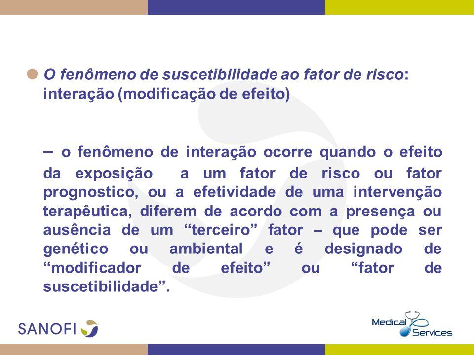 O fenômeno de suscetibilidade ao fator de risco: interação (modificação de efeito) – o fenômeno de interação ocorre quando o efeito da exposição a um