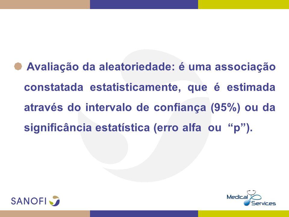 Avaliação da aleatoriedade: é uma associação constatada estatisticamente, que é estimada através do intervalo de confiança (95%) ou da significância e
