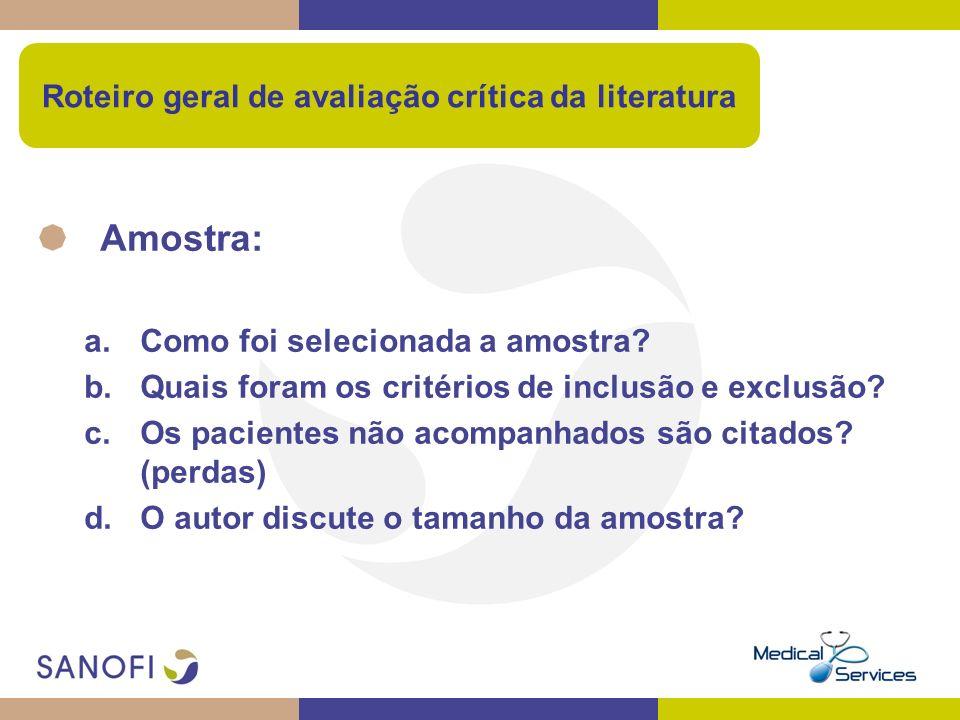 Roteiro geral de avaliação crítica da literatura Amostra: a.Como foi selecionada a amostra? b.Quais foram os critérios de inclusão e exclusão? c.Os pa