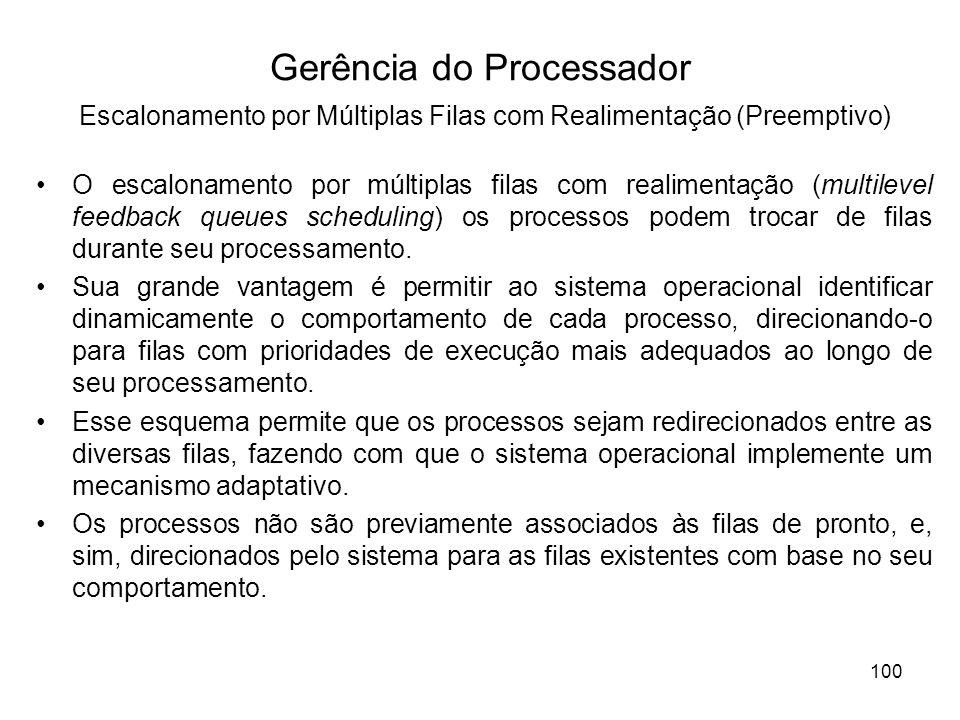 O escalonamento por múltiplas filas com realimentação (multilevel feedback queues scheduling) os processos podem trocar de filas durante seu processam