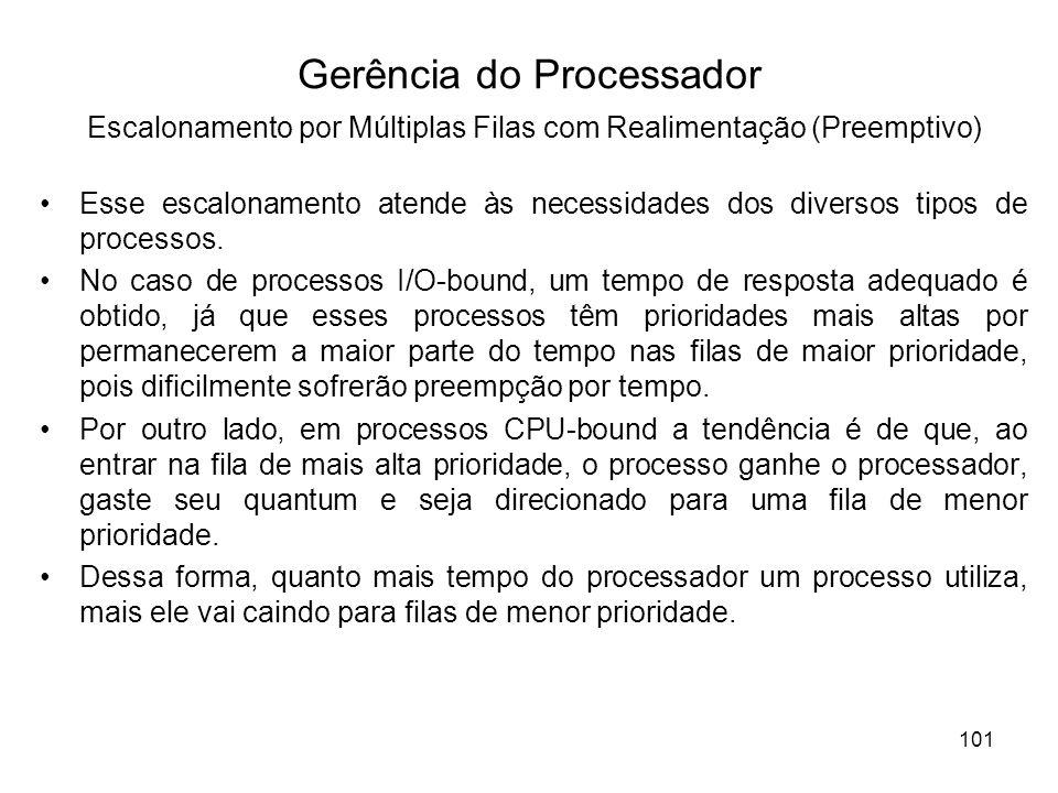 Esse escalonamento atende às necessidades dos diversos tipos de processos. No caso de processos I/O-bound, um tempo de resposta adequado é obtido, já