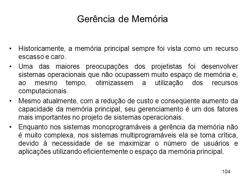 Gerência de Memória Historicamente, a memória principal sempre foi vista como um recurso escasso e caro. Uma das maiores preocupações dos projetistas