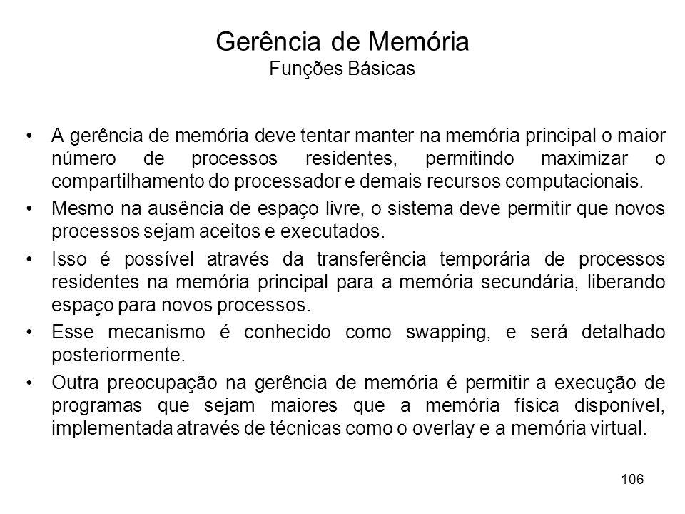 Gerência de Memória Funções Básicas A gerência de memória deve tentar manter na memória principal o maior número de processos residentes, permitindo m