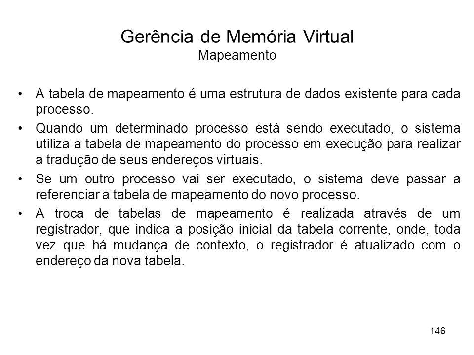 Gerência de Memória Virtual Mapeamento A tabela de mapeamento é uma estrutura de dados existente para cada processo. Quando um determinado processo es