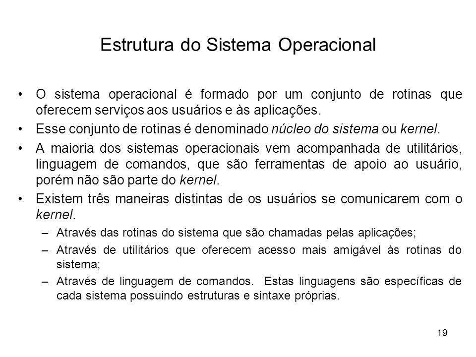 Estrutura do Sistema Operacional O sistema operacional é formado por um conjunto de rotinas que oferecem serviços aos usuários e às aplicações. Esse c