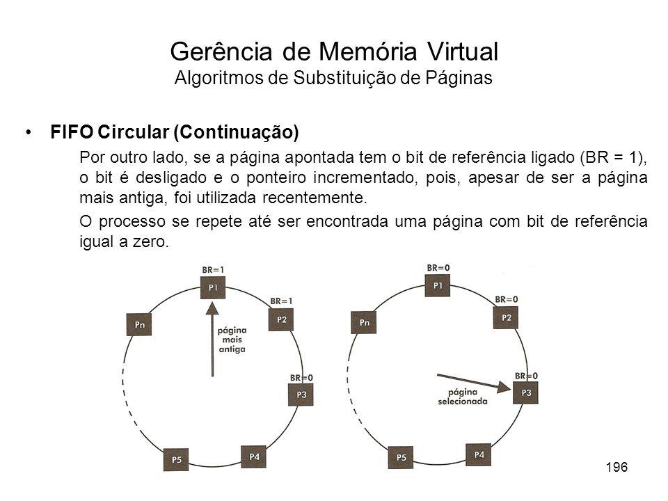 FIFO Circular (Continuação) Por outro lado, se a página apontada tem o bit de referência ligado (BR = 1), o bit é desligado e o ponteiro incrementado,