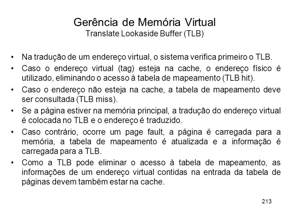 Na tradução de um endereço virtual, o sistema verifica primeiro o TLB. Caso o endereço virtual (tag) esteja na cache, o endereço físico é utilizado, e