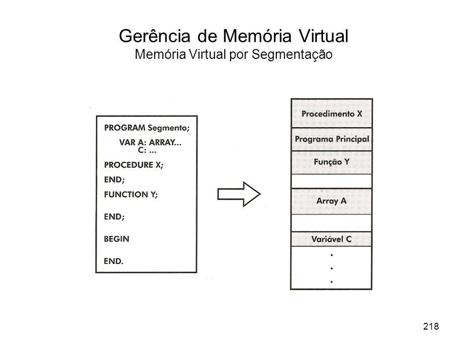 Gerência de Memória Virtual Memória Virtual por Segmentação 218