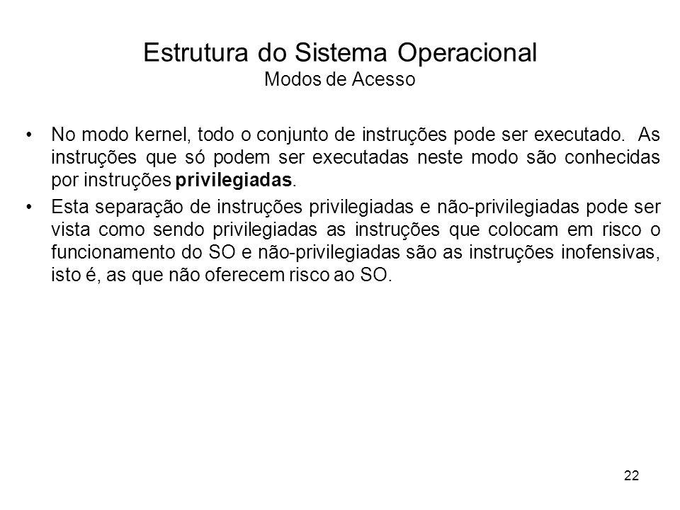Estrutura do Sistema Operacional Modos de Acesso No modo kernel, todo o conjunto de instruções pode ser executado. As instruções que só podem ser exec