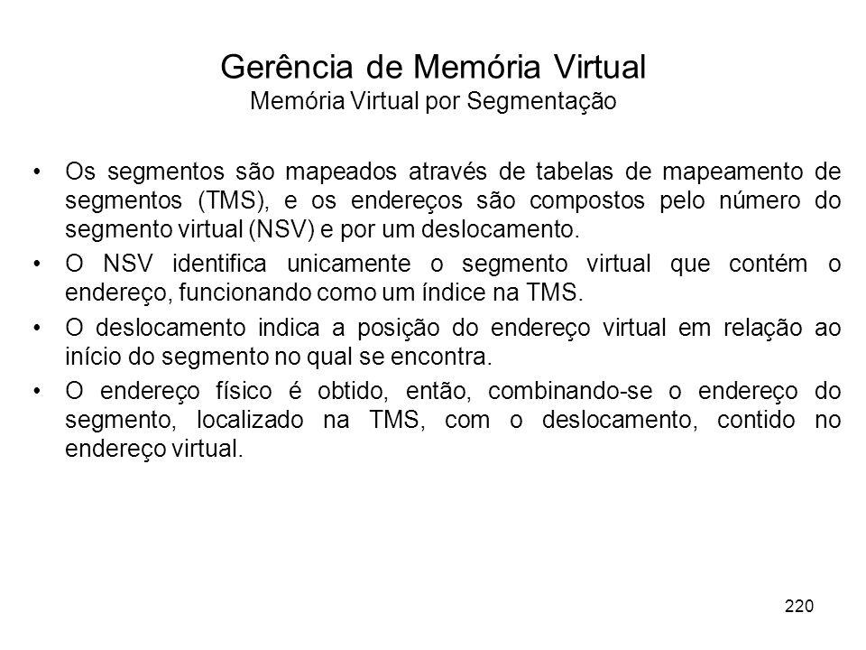 Os segmentos são mapeados através de tabelas de mapeamento de segmentos (TMS), e os endereços são compostos pelo número do segmento virtual (NSV) e po