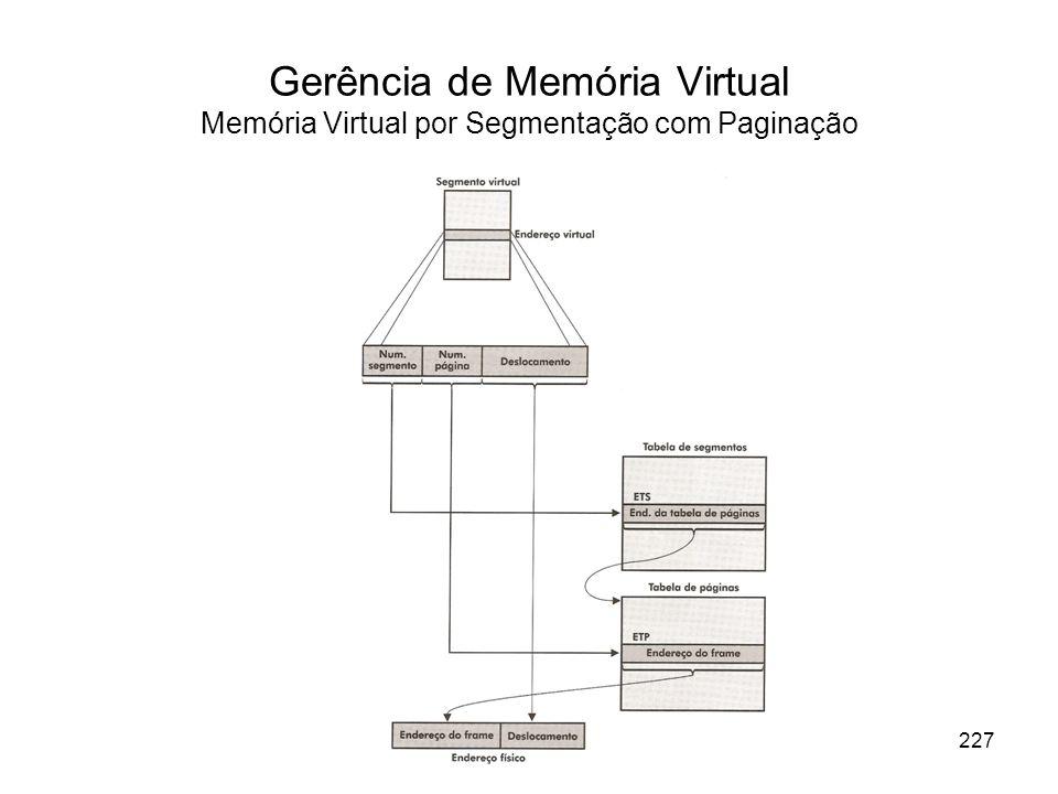 Gerência de Memória Virtual Memória Virtual por Segmentação com Paginação 227