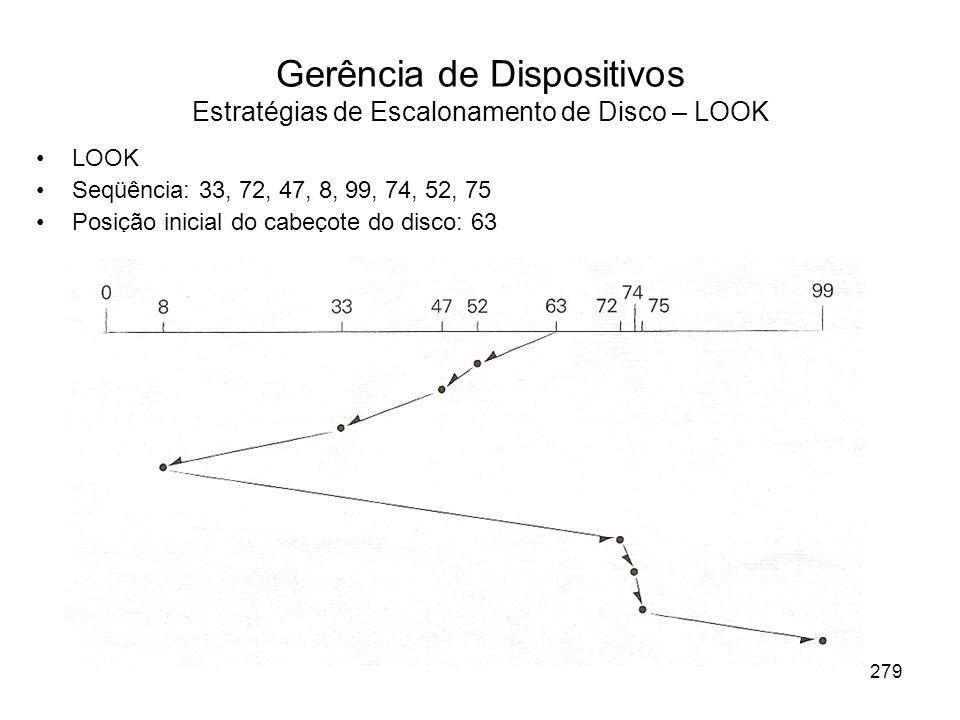 Gerência de Dispositivos Estratégias de Escalonamento de Disco – LOOK LOOK Seqüência: 33, 72, 47, 8, 99, 74, 52, 75 Posição inicial do cabeçote do dis