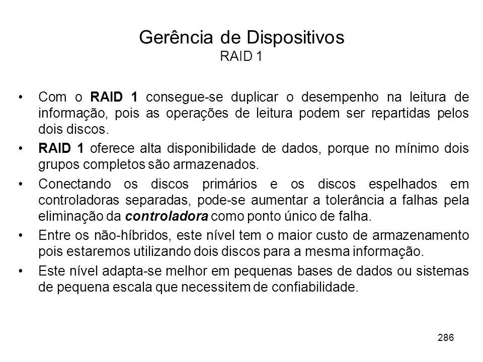 Gerência de Dispositivos RAID 1 Com o RAID 1 consegue-se duplicar o desempenho na leitura de informação, pois as operações de leitura podem ser repart