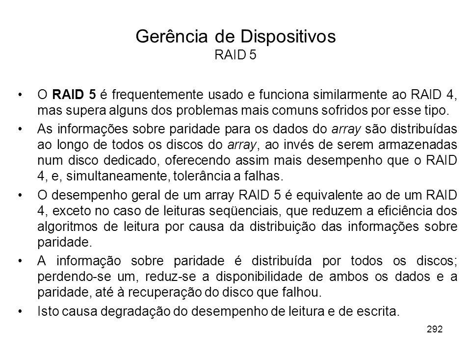 Gerência de Dispositivos RAID 5 O RAID 5 é frequentemente usado e funciona similarmente ao RAID 4, mas supera alguns dos problemas mais comuns sofrido