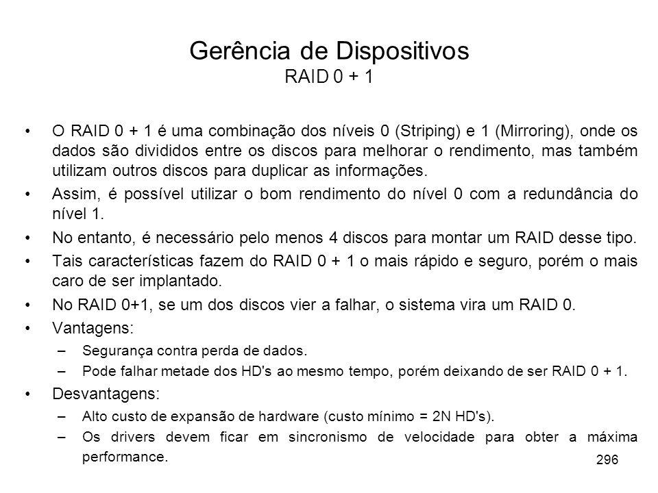 Gerência de Dispositivos RAID 0 + 1 O RAID 0 + 1 é uma combinação dos níveis 0 (Striping) e 1 (Mirroring), onde os dados são divididos entre os discos