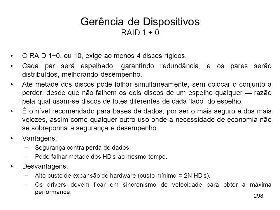 Gerência de Dispositivos RAID 1 + 0 O RAID 1+0, ou 10, exige ao menos 4 discos rígidos. Cada par será espelhado, garantindo redundância, e os pares se