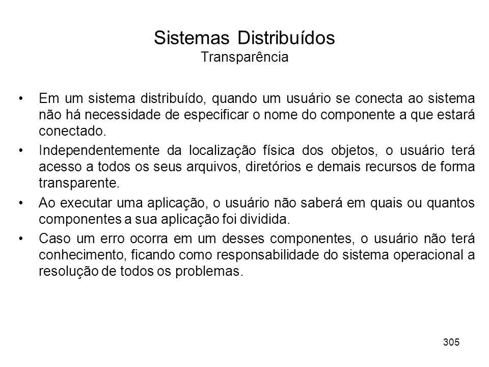 Sistemas Distribuídos Transparência Em um sistema distribuído, quando um usuário se conecta ao sistema não há necessidade de especificar o nome do com