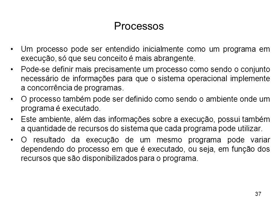 Processos Um processo pode ser entendido inicialmente como um programa em execução, só que seu conceito é mais abrangente. Pode-se definir mais precis
